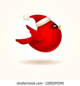 Christmas Cute Little Red Cardinal Bird with Santa's Cap.