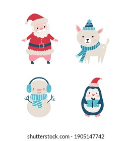 Christmas cute set in hand drawn style includes animals, Santa and other elements. Vector illustration on white background.