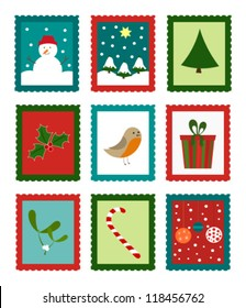 Christmas cute stamps collection - funny vector illustration