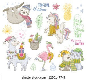 Christmas cute tropical animals: unicorn sloth pig lama flamingo. Hand drawn trendy doodle icon set. Merry Xmas, Happy New year cartoon sketch. Vector illustration isolated white backgraund & slogans