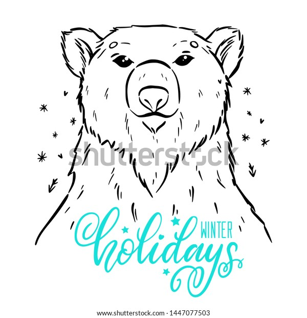 Cute Cartoon Polar Bear Ski Coloring Stock Vector - Illustration ... | 620x600