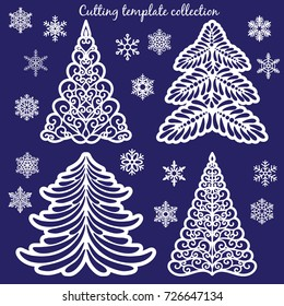 Christmas cutting templates collection: trees and snowflakes. Template for Christmas cards, invitations for Christmas party.