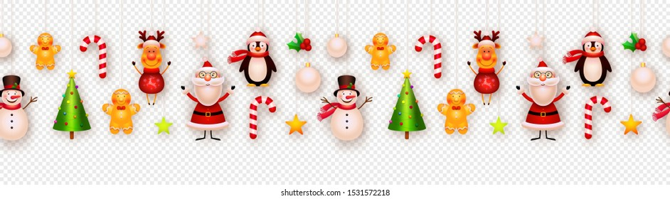 Christmas decor, hanging ornaments vector background. Garland. Christmas tree, snowman, santa, star, reindeer, gigngerbread. New year, winter holiday decoration isolated on transparent background.