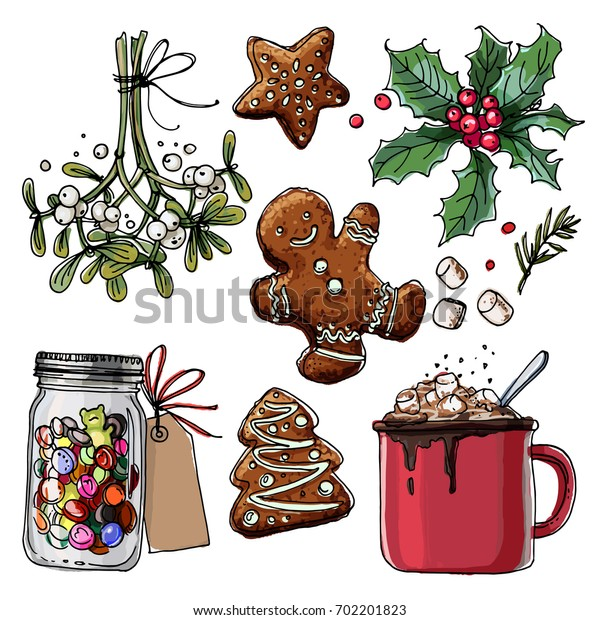 Christmas decor, plants line drawn on a white background. Sketch of berries and leaves. Mistletoe, holly, Cocoa, biscuits, marmalade, candies, sweets