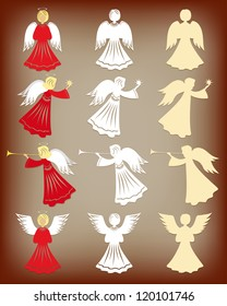 Christmas decoration. Angels. Vector illustration.