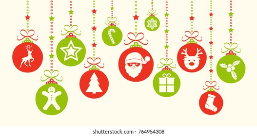 Christmas decoration with baubles with icons. Vector.