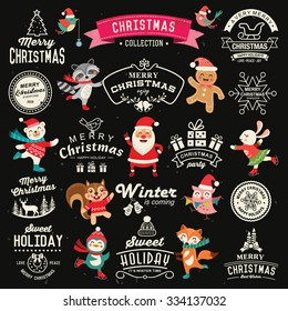 Christmas decoration collection of calligraphic and typographic design with labels, icons elements. Set of cute cartoon characters.