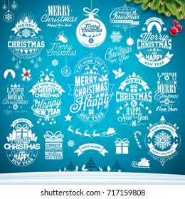 Christmas decoration collection of calligraphic and typographic
