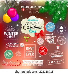 Christmas decoration collection with labels, symbols and icon elements. Vector illustration