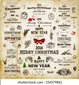 Christmas decoration collection | Set of calligraphic and typographic elements, frames, vintage labels. Ribbons, stickers, Santa and snowman, birds on a fur-tree branches with baubles. All for design.