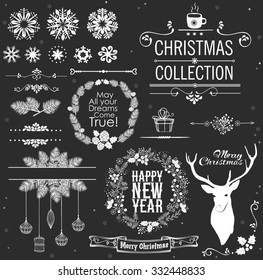Christmas decoration collection. Set of Christmas calligraphic and typographic elements