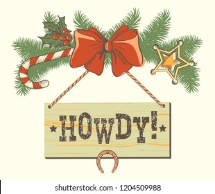 Christmas decoration for cowboy western background or design. Vector illustration