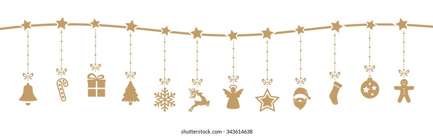christmas decoration elements hanging isolated background