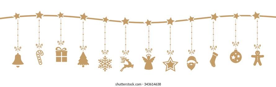christmas decoration elements hanging isolated background