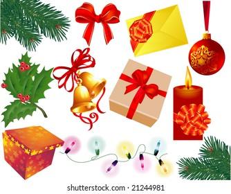 Christmas decoration elements set. Vector.