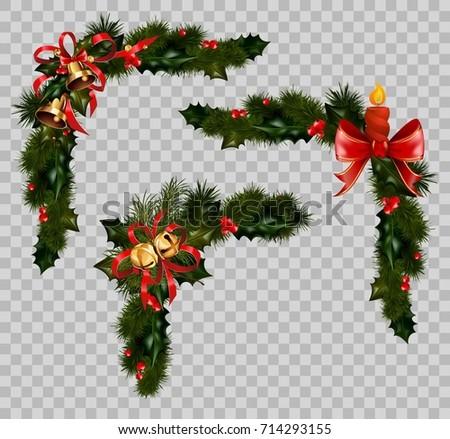 Christmas Decoration Fir Holly Wreath Bow Stock Vector Royalty Free