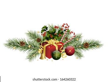 Christmas decoration with fir twigs