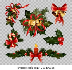 Christmas decoration fir wreath bow elements vector isolated on transparent background