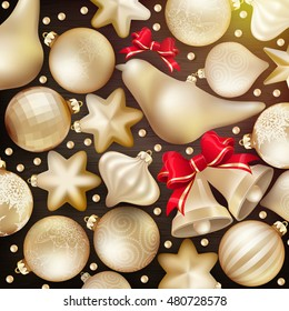 Christmas decoration. Golden baubles, balls, stars. Seasonal card concept. EPS 10 vector file included
