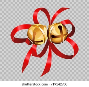 Christmas decoration golden bell balls on red ribbon bow vector transparent background