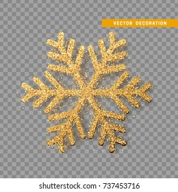 Christmas decoration, golden snowflake covered bright glitter, on transparent background. Xmas ornament gold snow with bright sparkles.