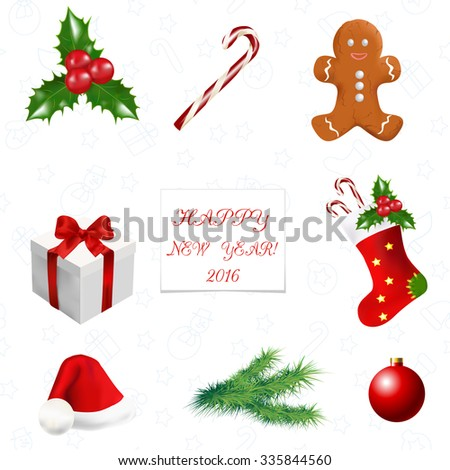 Christmas Decoration Greeting Card Christmas Symbols Stock Vector