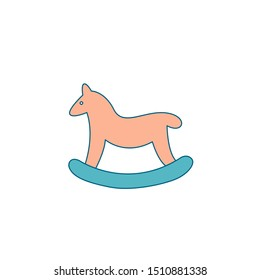 Christmas decoration for home. Christmas baby horse in the form of a swing. A gift for a child under a Christmas tree, a toy, a gift for a sock. Editable vector illustration