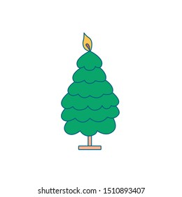 Christmas decoration for home. Candlestick for candles on a stand in the form of a Christmas tree. Decoration for the fireplace. Editable vector illustration