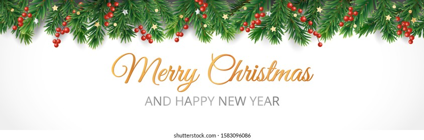 Christmas decoration isolated on white. Vector holiday border, frame. Red holly berry on pine tree branches. Merry Christmas text. For celebration banners, headers, posters.
