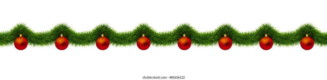 Christmas decoration isolated on white background. Detailed seamless vector. Red christmas balls and fir tree.
