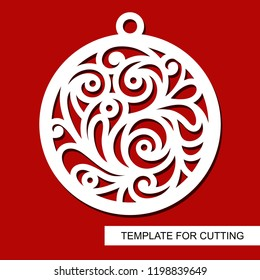 Christmas decoration - lace ball. Template for laser cutting, wood carving, paper cut and printing. Silhouette of a round toy. New Year theme. Vector illustration.