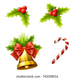 Christmas decoration with Christmas leaf, golden bell, red ribbon and candy  on white background, Vector illustration.