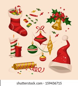 Christmas decoration objects. Vector illustration.
