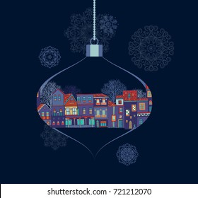 Christmas decoration with old houses on darl background