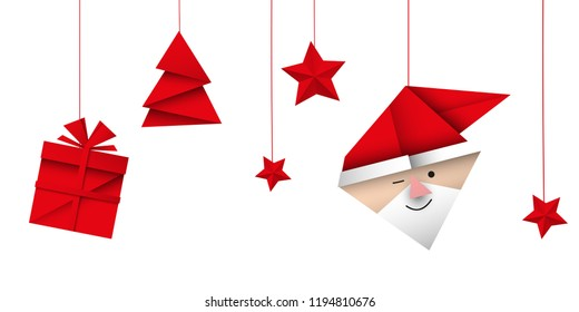 christmas decoration origami vector