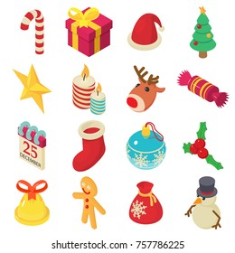 Christmas decoration ornament icons set. Isometric illustration of 16 Christmas decoration ornament vector icons for web