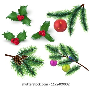 Christmas decoration. Realistic fir tree branches and red berries, holly leaves and christmas bauble. Winter holiday vector elements. Tree christmas branch, holly celebration traditional illustration