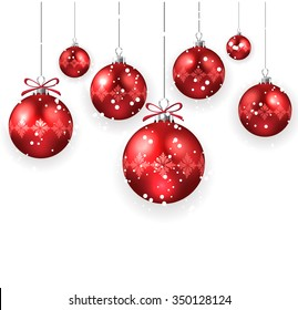 Christmas decoration with red Christmas balls isolated on white