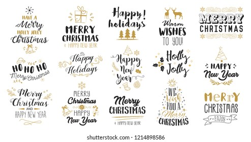Christmas decoration set of calligraphic and typographic design, logos, badges, labels, icons and elements.