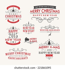 Christmas decoration set of calligraphic and typographic design elements, labels, symbols, icons, objects and holidays wishes