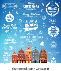 Christmas Decoration Set of Calligraphic and Typographic Design. Labels, Symbols and Icons Elements for Xmas Cards and Posters. Winter Landscape Background with Snowflakes.
