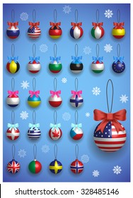 Christmas decoration set with different International flags. Christmas realistic colorful balls hanging. Winter holiday vector illustration