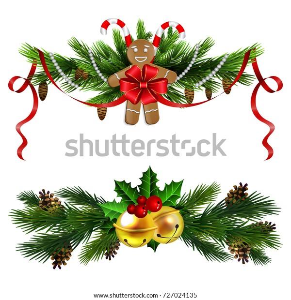 Evergreen Christmas.Christmas Decoration Set Evergreen Trees Poinsettia Stock