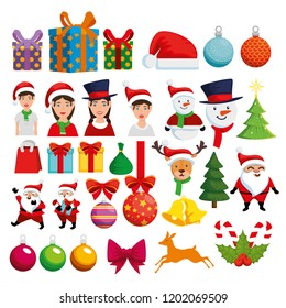 christmas decoration set icons