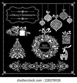 Christmas decoration set - lots of calligraphic elements, bits and pieces to embellish your holiday layouts. Collection of Christmas design elements isolated on Black background. Vector illustration