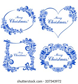 Christmas decoration set - lots of calligraphic elements, bits and pieces to embellish your holiday layouts. Collection of Christmas design elements isolated on White background. Vector Illustration