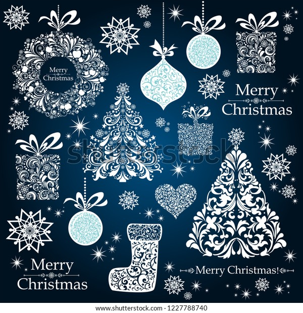Christmas decoration set - lots of calligraphic elements, bits and pieces to embellish your holiday layouts. Collection of Christmas design elements isolated on Dark background. Vector illustration