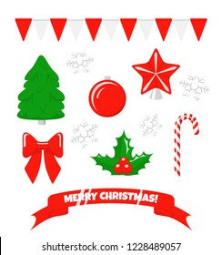Christmas decoration. Set of vector icons of christmas tree and berry, star and garland, candy cane