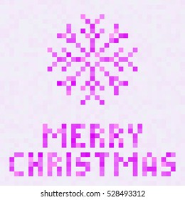 Christmas Decoration. Snowflake icon. Holidays vector Illustration. Pixel art design.