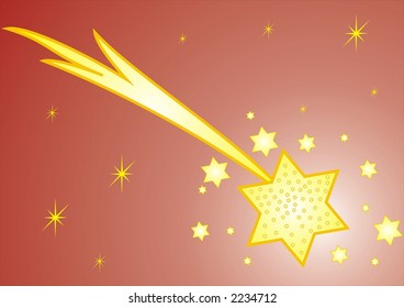Christmas decoration with star on color background